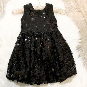 KIDS: Black Sequins Bubble Hem Dress